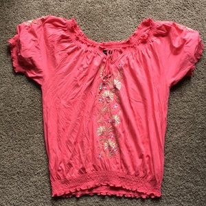 RX Boho Embroidered Flowers Peasant Top XXL